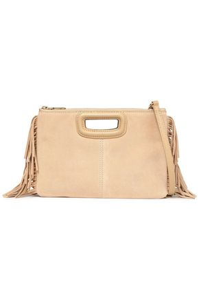 MAJE Duo fringe-trimmed suede clutch
