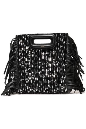 MAJE Sequined fringed leather and velvet clutch