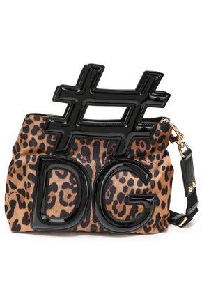 DOLCE & GABBANA Patent leather-trimmed shell shoulder bag