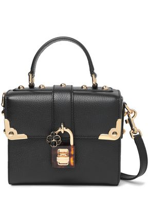 DOLCE & GABBANA Appliquéd studded textured-leather shoulder bag