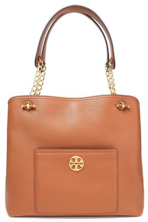 TORY BURCH Chain-trimmed textured-leather tote