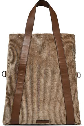 BRUNELLO CUCINELLI Bead-embellished leather-trimmed corduroy tote