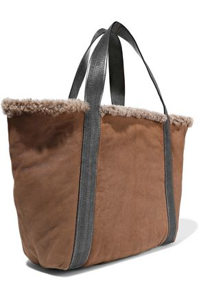 BRUNELLO CUCINELLI Leather-trimmed bead-embellished shearling tote