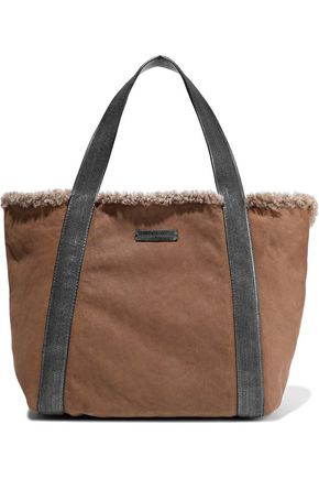 BRUNELLO CUCINELLI Bead-embellished leather-trimmed shearling tote