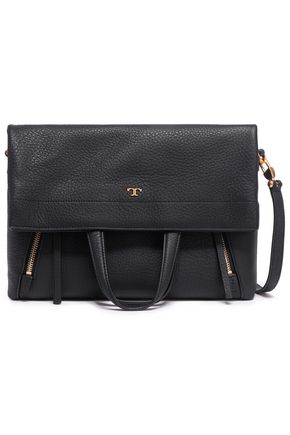 TORY BURCH Zip-detailed textured-leather shoulder bag