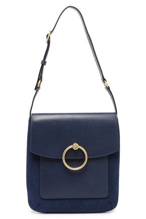 TORY BURCH Embellished leather and suede-paneled shoulder bag