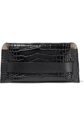 """IRIS & INK حقيبة باوتش """"آسا"""" من الجلد اللامع بنمط التمساح"""