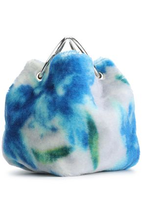 JIL SANDER Gathered floral-print mohair and cotton-blend tote
