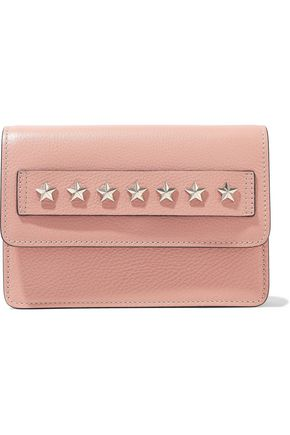 RED(V) Studded textured-leather clutch