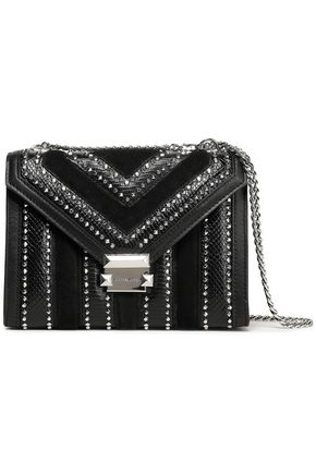 MICHAEL MICHAEL KORS Studded suede-paneled textured and smooth leather shoulder bag