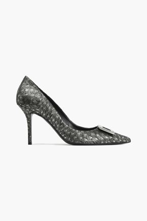 ROGER VIVIER Buckle-embellished metallic printed leather pumps
