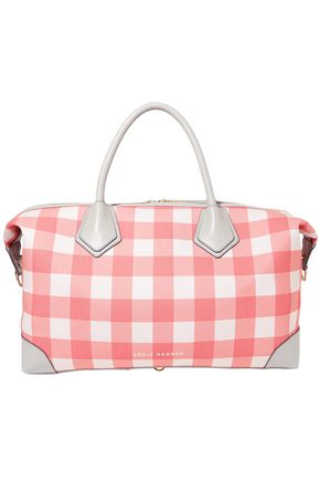 EDDIE HARROP Voyager leather-trimmed gingham canvas weekend bag