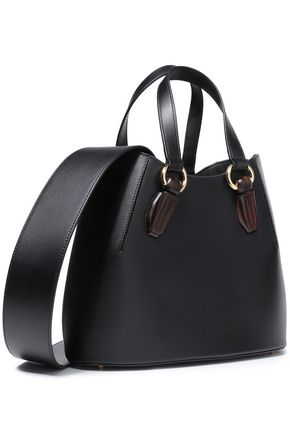 AEVHA LONDON Wood-trimmed leather tote