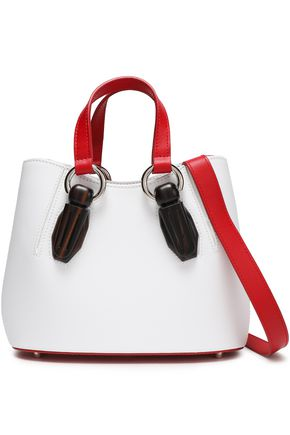 AEVHA LONDON Wood-trimmed color-block leather tote