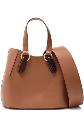 AEVHA LONDON Garnet wood-trimmed leather tote