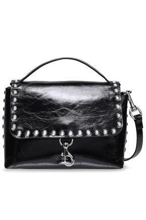 REBECCA MINKOFF Studded glossed cracked-leather shoulder bag