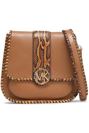 MICHAEL MICHAEL KORS Snake effect-trimmed leather shoulder bag