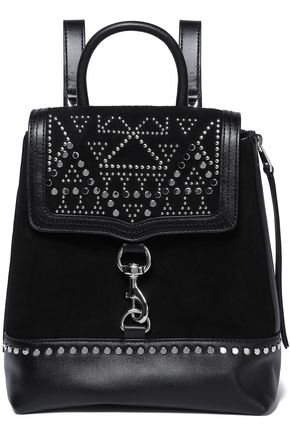 REBECCA MINKOFF Leather-paneled studded suede backpack