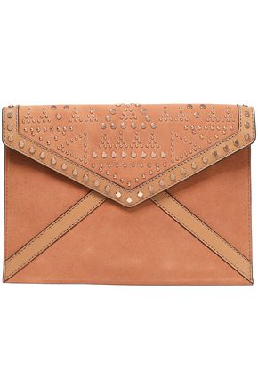 REBECCA MINKOFF Leather-paneled studded suede envelope clutch
