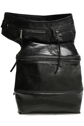 RICK OWENS Grosgrain-trimmed coated-denim belt bag