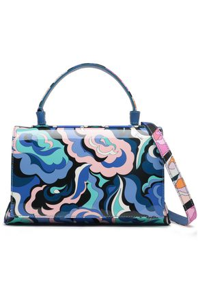 EMILIO PUCCI Silk-twill paneled printed patent-leather shoulder bag