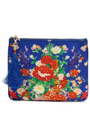 CAMILLA Playing Koi crystal-embellished printed canvas pouch