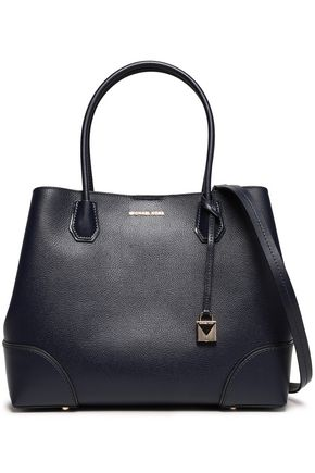 MICHAEL MICHAEL KORS Patent-trimmed textured-leather tote