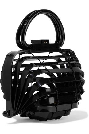 Cult Gaia Totes CULT GAIA WOMAN LILLETH MINI COLLAPSIBLE ACRYLIC TOTE BLACK