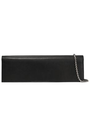RICK OWENS Chain-embellished textured-leather clutch