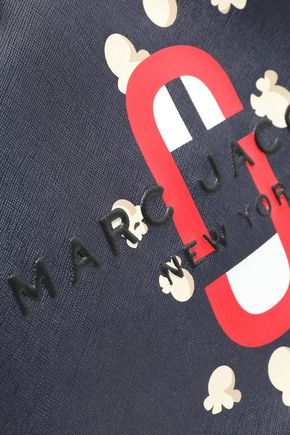 MARC JACOBS Logo-embroidered printed textured-leather tote