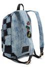 MARC JACOBS Patchwork-effect frayed embellished denim backpack