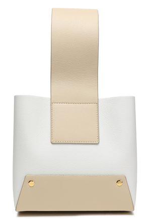 YUZEFI حقيبة توت من الجلد النافر متباينة الألوان