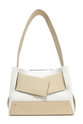 YUZEFI Color-block suede and textured-leather shoulder bag