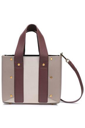 YUZEFI Studded color-block textured-leather shoulder bag