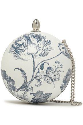 OSCAR DE LA RENTA Floral-print leather clutch bag
