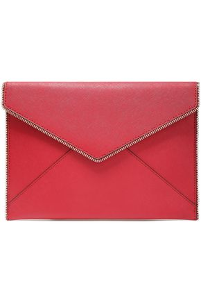 REBECCA MINKOFF Zip-embellished textured-leather envelope clutch