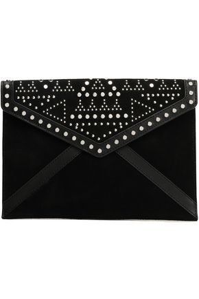 REBECCA MINKOFF Studded suede and leather-paneled clutch
