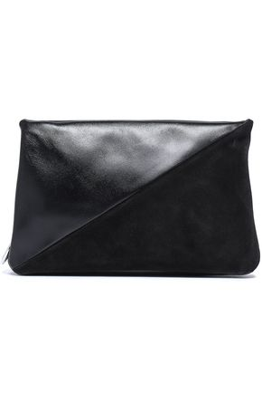 REBECCA MINKOFF Suede and leather clutch