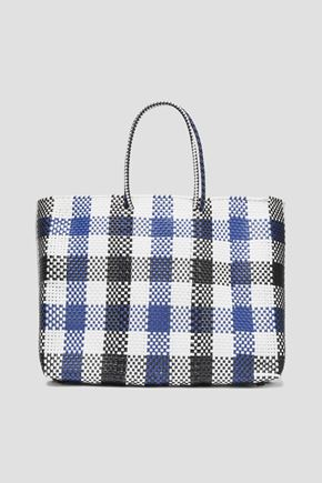 TRUSS Gingham woven raffia-effect tote