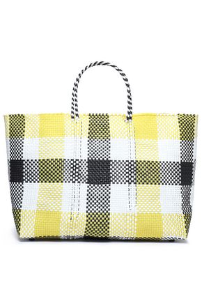 TRUSS Gingham raffia-effect woven tote