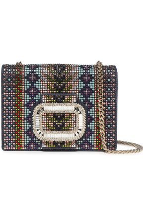 ROGER VIVIER Pilgrim Micro crystal-embellished denim shoulder bag