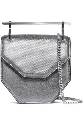 M2MALLETIER Amor Fati metallic lizarad-effect leather clutch