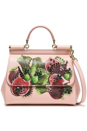 DOLCE & GABBANA Embellished printed textured-leather shoulder bag
