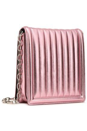 Dolce & Gabbana Woman Crystal-Embellished Metallic Matelassé Leather Shoulder Bag Baby Pink