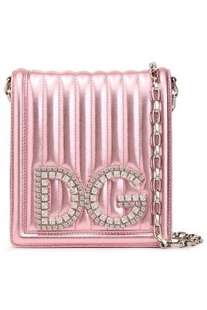 DOLCE & GABBANA Crystal-embellished metallic matelassé leather shoulder bag