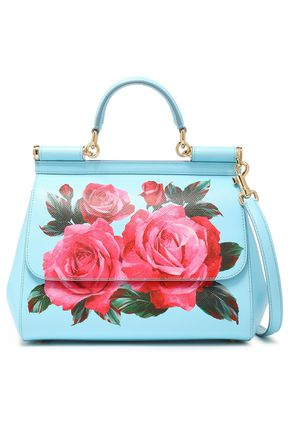 DOLCE & GABBANA Floral-print textured-leather shoulder bag