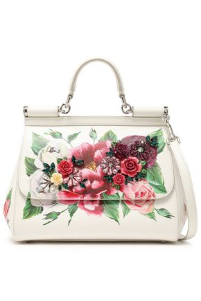DOLCE & GABBANA Sicily embellished floral-print textured-leather shoulder bag