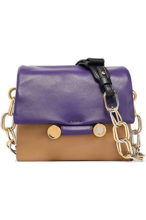 MARNI Chain-embellished color-block leather shoulder bag