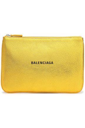 BALENCIAGA Logo-print metallic textured-leather pouch