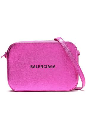 BALENCIAGA Logo-print metallic textured-leather shoulder bag